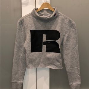 Russell Athletic Cropped Mock Neck Sweatshirt